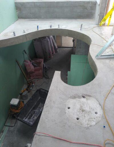 Custom concrete stair landing